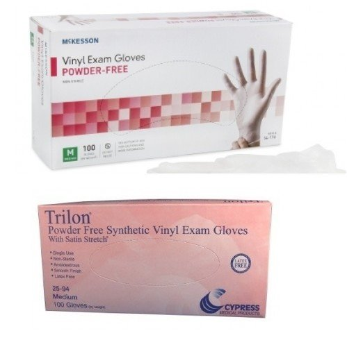 Vinyl Exam Glove, MEDIUM, Powder Free, Latex Free, Smooth, 100 Count Box - Case of 10 Boxes = 1000 Gloves