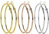 3 Pairs Clip On Earrings 60mm Big Hoop Earrings Set Non Piercing Earrings for Women Girls Gold Plated Rose gold Silver Hypoallergenic Hoop earrings (60mm-2.36')