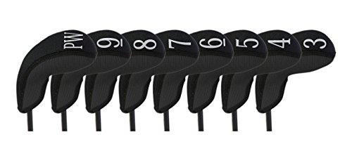 (Stealth Club Covers 18010 Hybrid Set 3-PW Golf Club Head Cover (8-Piece), Black Solid)