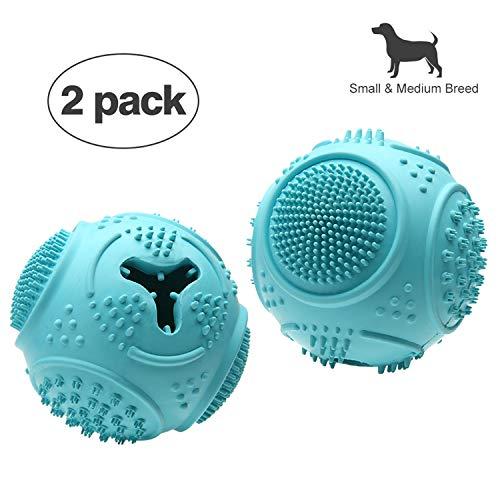 NYI Ball Dog Toy – Dog Ball – Jolly Ball for Dogs – Set of 2 Dog Toys Balls – Medium 2.8″ Interactive Rubber Ball Food Dispensing Dog Toy IQ Training Teeth Cleaning Playing