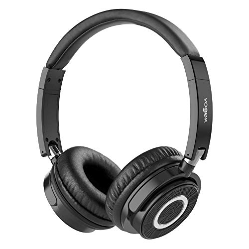 Wireless Bluetooth Headphones, Vogek Portable Stereo Wireless Headset with Fold-Flat Ear Cups, Protein Earmuffs, Built-in Mic and Wire Mode ()