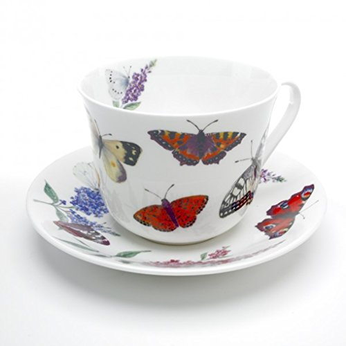 Roy Kirkham Breakfast Cup/Saucers, Butterfly Garden, Set of 2 ()