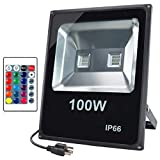 GLW 100W RGB LED Flood Lights,Outdoor Color Changing Security Flood Light with Remote Control,IP66 Waterproof 16 Colors 4 Modes Dimmable Stage Lighting,Wall Washer Light with US 3-Plug