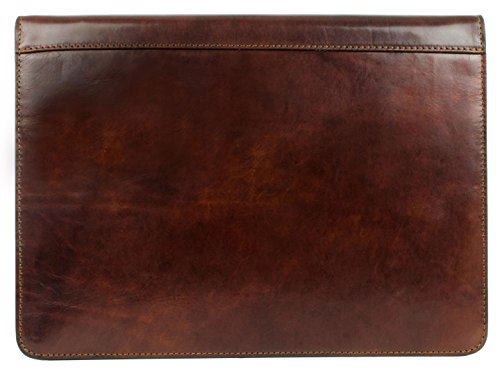 Calfskin Document - Leather Portfolio Document Folder Handcrafted Case Dark Brown Time Resistance