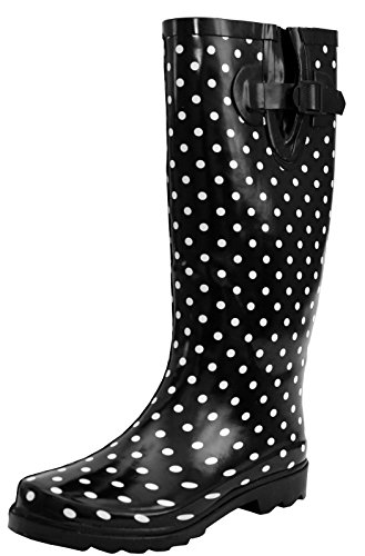 New Womens Ladies Ajustable Calf Snow Rain Mud Festival Waterproof Wellington Boots Wellies Sizes UK 3-8 (UK 4, Black/White Spots)