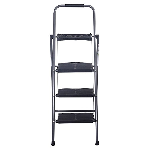 HD 3 Step Ladder Staircase Foldable Ladder Platform Stool 330 LBS Capacity Saving Little Space with Tray Pittayadomeshop (Rod Iron Bar Stools)