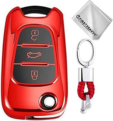 Rojo Funda para Llave Smart Key para Coche Hyundai i20 i30 i35 iX20 iX35 Kia Rio Rondo Soul Sportage 3 Buttons Carcasa Protectora [Suave] de ...