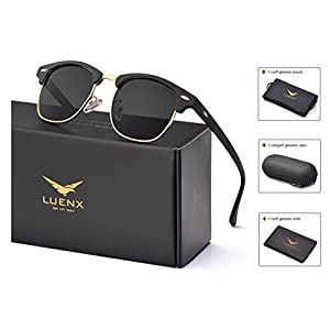 LUENX Men Women Clubmaster Polarized Sunglasses:UV 400 Protection 51MM with Case (23 Black(Matte Frame)/Non-mirror, 51)