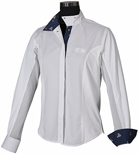 - Equine Couture Ladies Boat Show Shirt (White/Navy, 36)