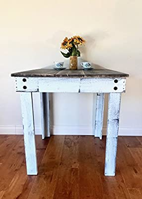 Rustic Handcrafted Reclaimed Square Dining Table - Self Assembly - Natural & White - 30x30x30