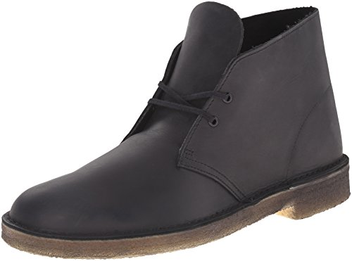 Desert Leather Footwear - CLARKS Men's Desert Chukka Boot, Black Smooth, 11 Medium US