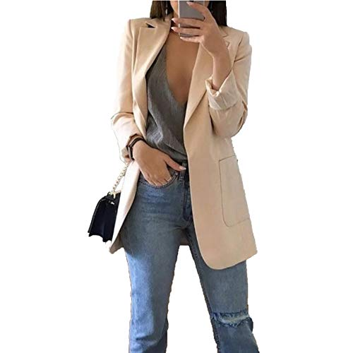Womens Blazer Casual Work Office Blazer Solid Color Jacket Beige Small