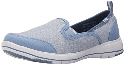 Keds Walking Shoes - Keds Women's Lite Brisk Slip-On Fashion Sneaker, Blue Canvas, 7.5 M US