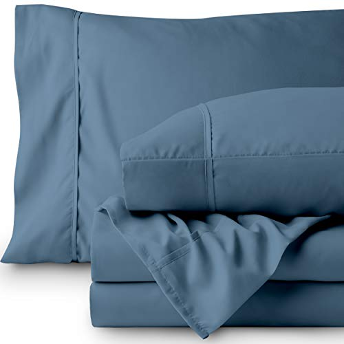 Bare Home Premium 1800 Ultra-Soft Microfiber Sheet Set Twin Extra Long - Double Brushed - Hypoallergenic - Wrinkle Resistant (Twin XL, Coronet Blue)
