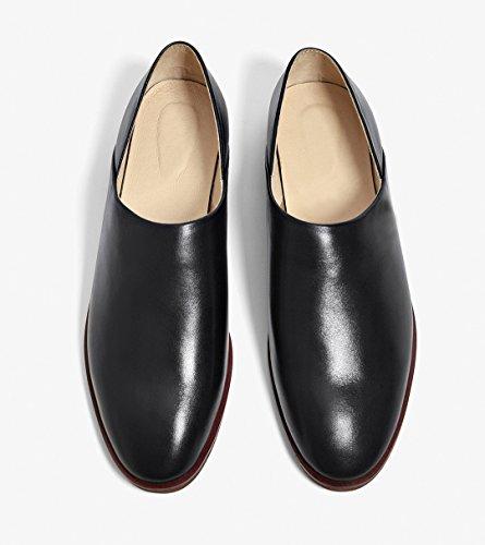 Honeystore Damens Büro Slip-on Schuhe Echtes Leder Oxford Smoking Schuhe Lace-up Loafers Flats Einzelschuhe Schwarz