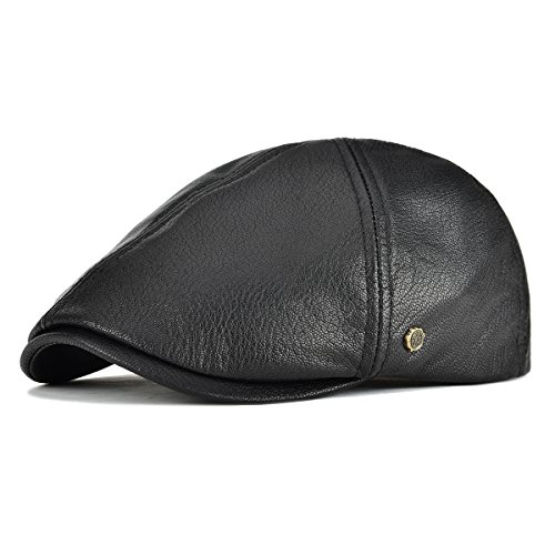 VOBOOM Lambskin Leather Ivy Caps Classic Ivy Hat Cap 6 Pannel Cabbie Beret hat (S/M(58cm), Black)