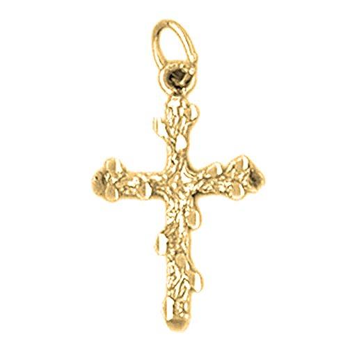 18K Yellow Gold Nugget Cross Pendant - 24 mm