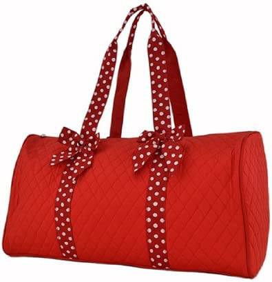 Quilted Solid Duffle Bag 21 Red White