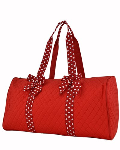 Red//White Quilted Solid Duffle Bag 21