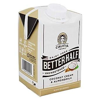 Califia Farms - Better Half Coconut Cream y Almond Milk Creamer Unsweetened - 16.9 fl. onz.: Amazon.es: Salud y cuidado personal
