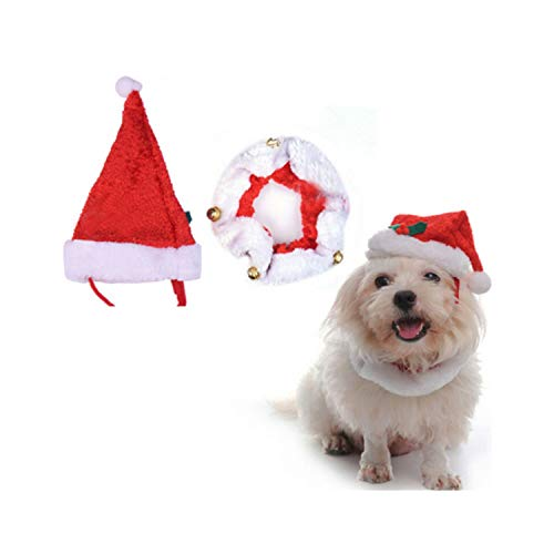 ZZmeet Pet Dog Hat and Collar with Bells Cat Cap Festivals Halloween Dog Big Beard Christmas Hat Collar Birthday Party,SDZ08,S -