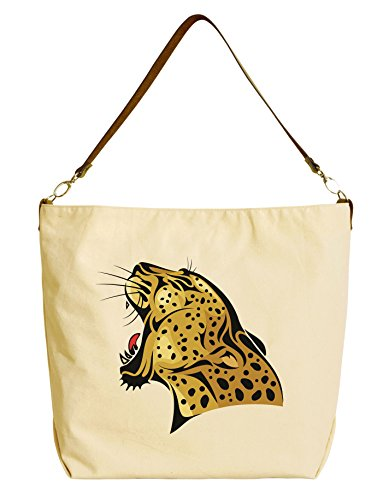 Leopard Printed Leather Tote (Leopard Head Beige Printed Canvas Tote Bag with Leather Strap WAS_29)