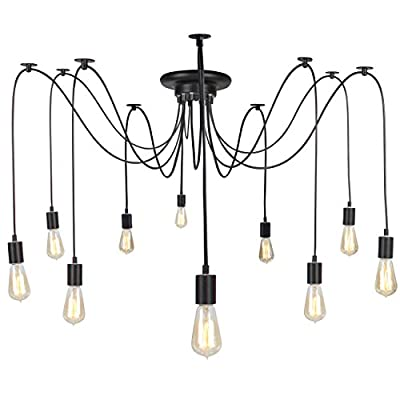Best Choice Products Industrial Vintage Lighting Ceiling Chandelier 10 Lights Metal Hanging Fixture