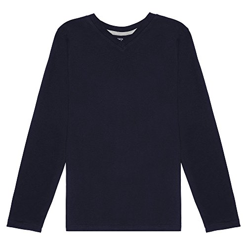 French Toast Boys' Big' Long Sleeve V-Neck Tee, Navy, M (8)