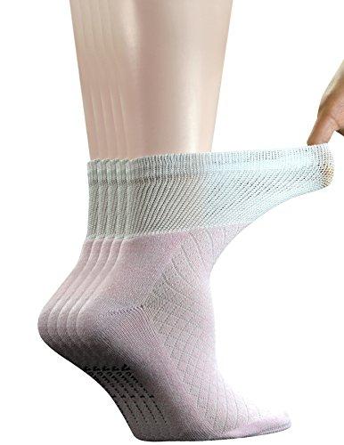 Non Binding Quarter Sock (Yomandamor 5 Pairs Women's Bamboo Quarter Breathable Diabetic Socks with Seamless Toe and Cushion Sole)