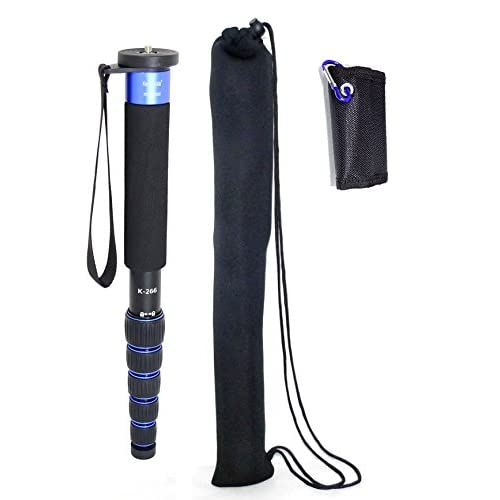 koolehaoda 6-Section Monopod Compact Portable Photography Aluminum Alloy Unipod Stick, Max. Load 10kg/22lbs, Folding size is only 15-inch (K-266 Blue)