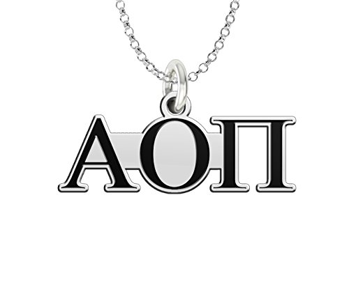 (Alpha Omicron Pi Sterling Silver Antique Letters Charm)