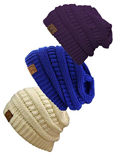 - Gravity Threads Women's 3-Pack Knit Beanie Cap Hat - Ivory/Purple/Royal