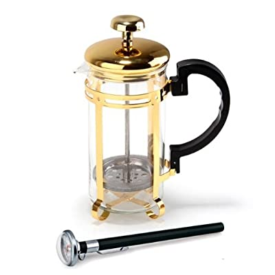 French Press Glass Coffee Cup Maker 350ml Steel With Gold Color Plating Pot Filter Pressure Tea For Living Room Office