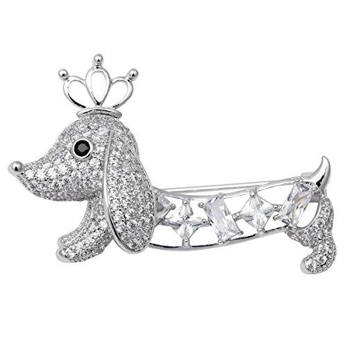 Dachshund Poodle (Hiddleston Jewelry Birthstone CZ Dachshund Labrador Dalmatian Poodle Spotty Dog Puppy Crown Brooch Pin)