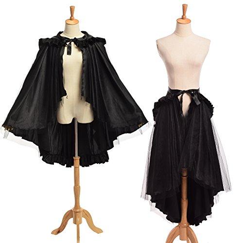 BLESSUME Flounce Bustle Skirt Black product image