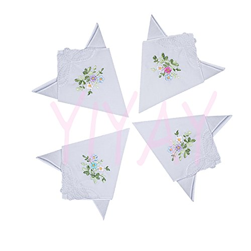 YIYAY Floral Embroidered Cotton Handkerchiefs with Lace for Ladies (6 pcs)