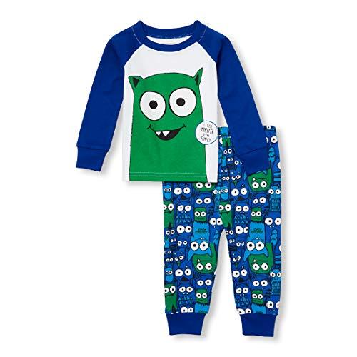 (The Children's Place Baby Boys 2 Piece Long Sleeve Pajama Set, Edge Blue 3-6MONTHS )