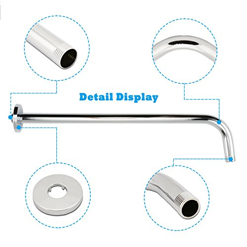 Neady 16 Inch Shower Arm Stainless Steel Shower Head Extension Fixed Rain Shower Head Shower Arm with Flange, Chrome finish by Neady (Image #2)