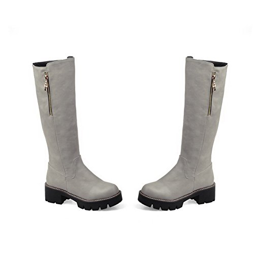 Solid Pu Mid Women's Gray Kitten Zipper Allhqfashion Top Heels Boots wOqR51EI