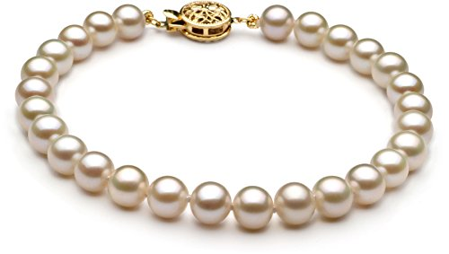 White 6-7mm AAA Quality Freshwater Cultured Pearl Bracelet-7 in length by PearlsOnly
