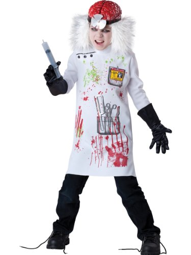 [InCharacter Costumes Boy's Mad Scientist Costume, White/Black, 10] (Horror Costumes For Kids)