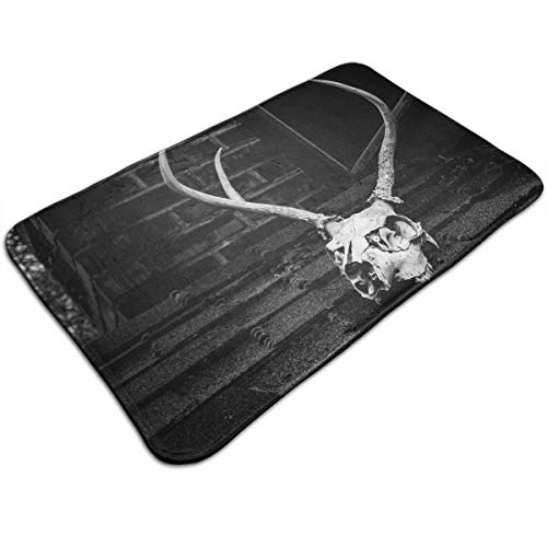 DIDIDI Halloween Grayscale Photo of Skull with Antler Throw Area Ground Mat Accent Floor Carpet Outside Door Set Decor Welcome Entryway Rug Sign Celebrate Decorations Ornament