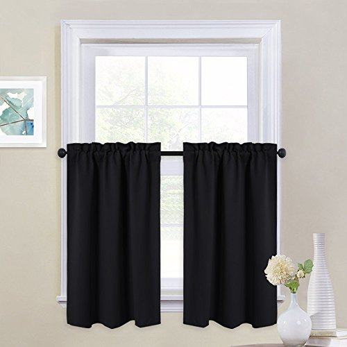 (NICETOWN Black Out Valances for Kitchen - Rod Pocket Tailored Tier/Cafe Curtains for Half Window (One Pair, 29 Inches Wide x 36 Inches Long, Black))