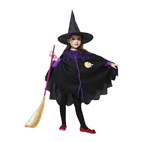 1605 Costume (BlueSpace Girls' Witch Costume Halloween Birthday Party Costumes Dress up, S)