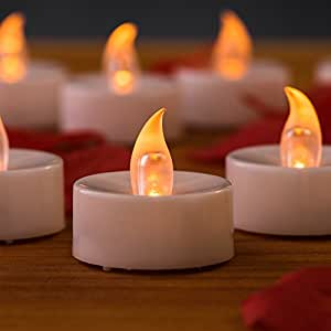 Mars Battery Operated Candles 24 Yellow Flickering LED Candles Tea Lights Free 100 Fake Rose Petals for Windows, Candle Holders, Luminaries, Birthday Candle, Wedding, Stocking Stuffers, Valentines