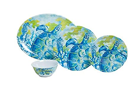 Galleyware Sea Turtle 19-Piece Melamine Dinnerware Set Service for 6 with Platter  sc 1 st  Amazon.com & Amazon.com | Galleyware Sea Turtle 19-Piece Melamine Dinnerware Set ...