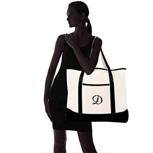 950c939f3f DALIX Monogram Bag Personalized Totes For Women Open Top Black Letter A-Z