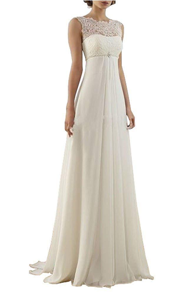 e083b4c8e20 DressyMe Women s Simple 2019 Wedding Dresses for Bride A-Line  Empire-Waist-8-Light Ivory