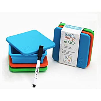 LUNCH SQUARES Collapsible Silicone Lunch Containers with Lids - Oven and Microwave Safe - Small/Snack-Sized/Portion Control - Set of 3, 8oz each (Blue, Orange, Green) + Washable Marker
