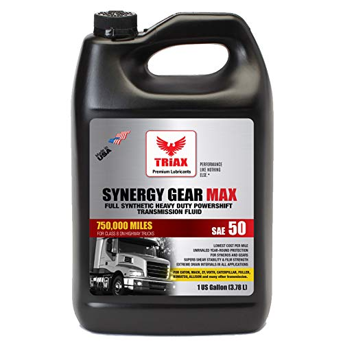 Triax Synergy Gear SAE 50 Full Synthetic Manual Transmission Oil - 500,000 Mile Rating for Eaton, ZF, Mack Heavy Duty Trucks (1 GAL)